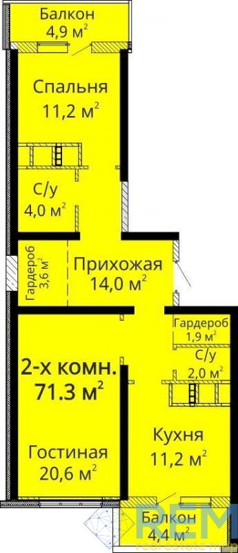 продажа двухкомнатной квартиры номер A-128833 в Приморском районе, фото номер 1